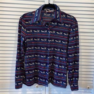 Vtg FP horse carriage western button up sm